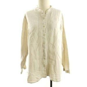 L.L. Bean Linen Shirt Pintuck Front Button Down